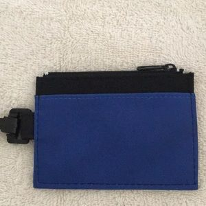 Blue and Black Clip-on Zip Wallet with ID Window